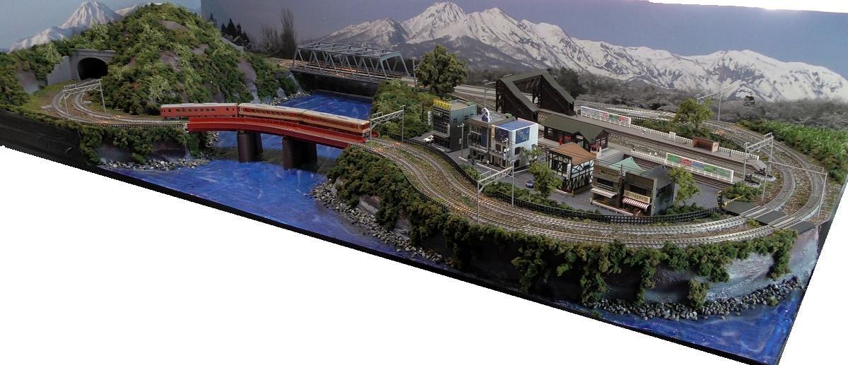 「送料込み」鉄道模型ジオラマレイアウトNゲージ用 複線[150cm×60cm]渓流の路線●注文製作●150x60−2