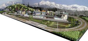 「送料込み」鉄道模型ジオラマレイアウトNゲージ用 複線[150cm×60cm]引き込み駅のある町●注文製作●150x60−5