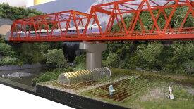 「送料込」鉄道模型ジオラマ展示台Nゲージ用 複線[90cm×30cm]赤い鉄橋●注文製作●展示台90x30−4