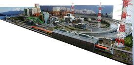 鉄道模型ジオラマレイアウトNゲージ用 複線渡り線[210cm×90cm]現代の風景 5線ヤ−ド(奥3線、手前2線)●注文製作●210x90−1