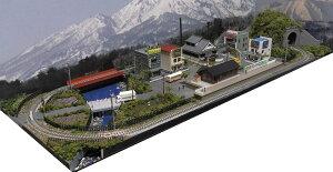 「送料込み」鉄道模型ジオラマレイアウトNゲージ用 単線[90cm×30cm]昭和の街●注文製作●90x30−1
