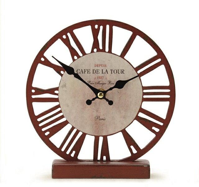 オールドルッククロック テーブルスケルトン◆レッド◆アンティーク風 置き時計◆インテリア雑貨◆アンティーク雑貨◆時計 置き型◆ナチュラル雑貨◆Natural