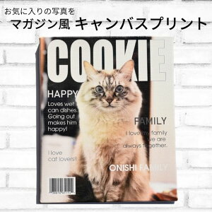 ペット 写真入り 名入れ キャンバスプリント F3サイズ(273×220mm) アートパネル 雑誌風 写真プリント フォトフレーム 背景ぼかし マガジン タペストリー 名前入り オリジナル 犬 猫 動物 ギ