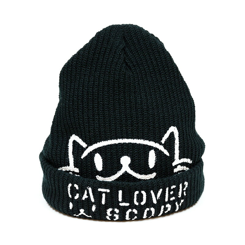 【 ポイント10倍 〜3/26 2時マデ 】 猫 ねこ ニットキャップ CAT LOVER ( ブラック ) | ネコ 猫 猫雑貨 ( キャップ ビーニー ニット帽 ) | かわいい おしゃれ アウトドア | 猫の日 | SCOPY / スコーピー