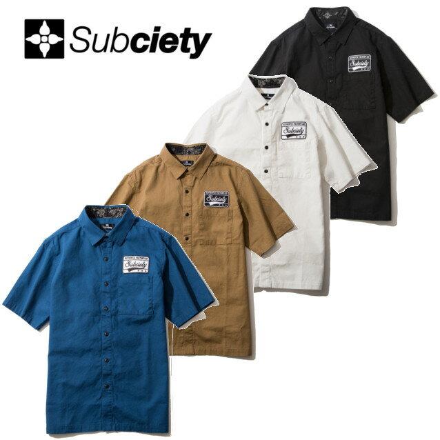 SUBCIETY サブサエティー EMBLEM SHIRT S/S PLAIN 半袖シャツ