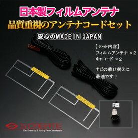 (F型) 高品質日本製 地上デジタル フィルムアンテナ[TYPE2] + 4mコード Panasonic(TU-DTV20) 高感度ブースター内蔵 2セット / 地デジ デジタル 張り替え 補修