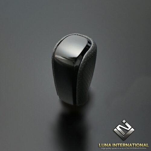 (ルナインターナショナル) ランドクルーザー プラド TRJ150系 ピアノブラック×ブラックレザー 純正同等サイズ シフトノブ / LUNA INTERNATIONAL