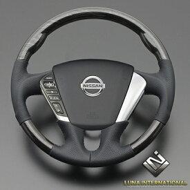 (ルナインターナショナル) ムラーノ Z51 [2008/9〜] シルバーローズウッド/ブラック ガングリップ ウッド&レザーステアリング / 純正交換