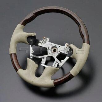 무라노 Z51 [2008/9~]스포츠 타입 우드 콤비 스티어링(아프리칸 우드/베이지) / steering 핸들 휠