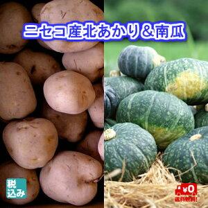 北海道産じゃがいものブランド! ニセコ産北あかり L5kg+南瓜2玉(約3kg) 減農薬・減化学肥料栽培【送料無料】