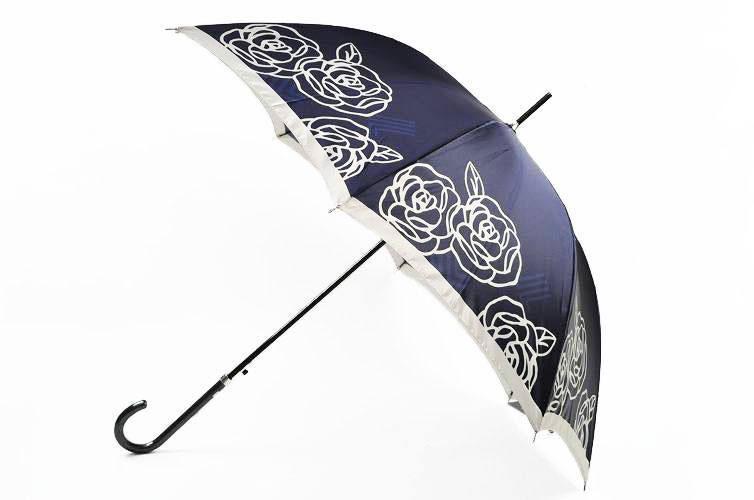 ランバン LANVIN 雨傘 長傘 傘 レディース ジャンプ ローズ × ロゴ デザイン シャイニー ネイビー 系   女性 ブランド おしゃれ かわいい 母の日 敬老の日 ギフト 【あす楽】