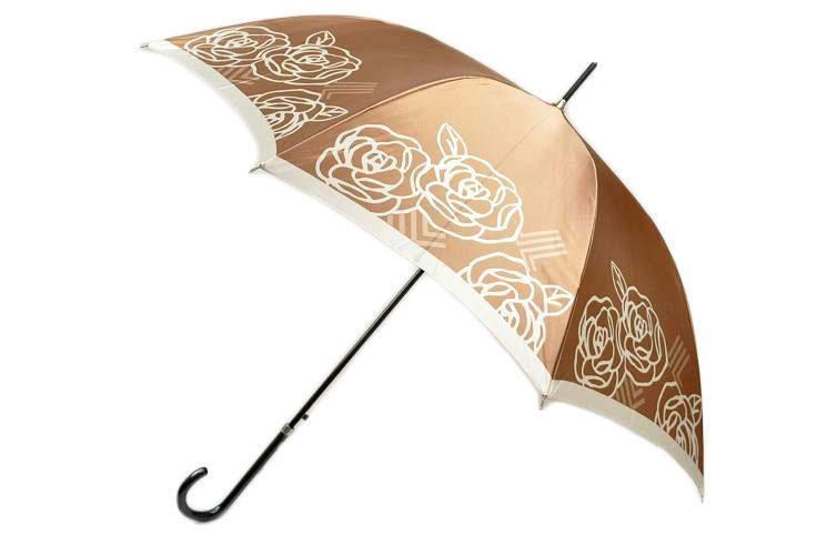 ランバン 雨傘 長傘 傘 LANVIN ローズ × ロゴ デザイン ジャンプ シャイニー ベージュ 系 | レディース 女性 ブランド かわいい おしゃれ 大きい 母の日 敬老の日 ギフト 【あす楽】