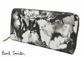 ポールスミス 長財布 財布 ラウンドファスナー レディース ブランド Paul Smith 専用箱付 ハーフトーンフローラルプリント 黒 白 ブラック ホワイト 女性 婦人 本革 PWD972 【あす楽】
