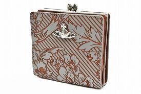 ヴィヴィアン ウエストウッド 二つ折り 財布 がま口 レディース ブランド Vivienne Westwood フラップ 箱無 ブロケード グレー 女性 婦人 本革 3218AG21 x1x 【あす楽】