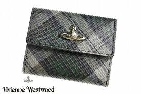 ヴィヴィアン ウエストウッド 三つ折り 財布 レディース ブランド Vivienne Westwood フラップ 箱無 プリンテッド タータン コンパクト グリーン 女性 婦人 本革 3318W931 x1x 【あす楽】