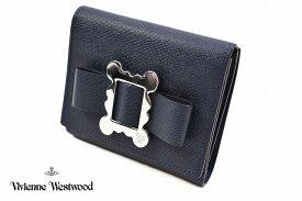 ヴィヴィアン ウエストウッド 財布 二つ折り レディース ブランド Vivienne Westwood フラップ 箱無 メタルフレーム 紺 ネイビー 女性 婦人 本革 3318Y732 1901【あす楽】