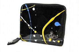 ヴィヴィアン ウエストウッド 二つ折り 財布 ラウンドファスナー レディース ブランド Vivienne Westwood 箱無 スプラッシュ 黒 ブラック × イエロー 女性 婦人 本革 3118Y632 【あす楽】