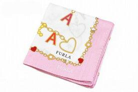 フルラ ハンカチ レディース 1枚 ブランド FURLA ライト ピンク × ホワイト 白 キー チェーン 女性 婦人 【あす楽】