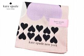 ケイト スペード ニューヨーク ハンカチ レディース 1枚 ブランド kate spade new york ベビーピンク × ブラック ハート プリント 女性 婦人 ケート 【あす楽】