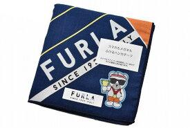 フルラ ハンカチ 1枚 メンズ ブランド FURLA マイクロファイバー 紺 橙 ネイビー × オレンジ ロゴ ライン ベア デザイン 男性 紳士 【あす楽】