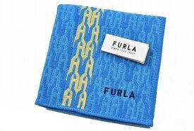 フルラ タオルハンカチ ハンカチ 1枚 メンズ ブランド FURLA ブルー × イエロー ロゴ デザイン 男性 紳士 ハンドタオル 【あす楽】