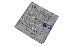 ポロ ラルフローレン 大判ハンカチ 1枚 メンズ ブランド POLO Ralph Lauren グレー 系 フラワードット × シャドーロゴ | 男性 紳士 【あす楽】