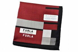 フルラ ハンカチ 1枚 メンズ ブランド FURLA レッド ハーフ ボーダー デザイン 男性 紳士 【あす楽】