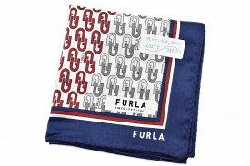 フルラ ハンカチ 1枚 メンズ ブランド FURLA 白 ホワイト 系 ロゴ デザイン プリント 男性 紳士 【あす楽】
