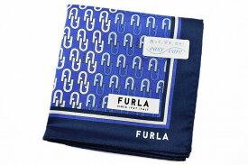 フルラ ハンカチ 1枚 メンズ ブランド FURLA 青 ブルー 系 ロゴ デザイン プリント 男性 紳士 【あす楽】