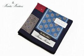 ブルックス ブラザーズ ハンカチ 1枚 メンズ ブランド BROOKS BROTHERS ネイビー 紺 デザイン プリント 男性 紳士 父の日 【あす楽】