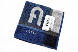 フルラ タオルハンカチ ハンカチ 1枚 メンズ ブランド FURLA ネイビー ブロックデザイン 男性 紳士 ハンドタオル 【あす楽】