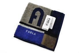 フルラ タオルハンカチ ハンカチ 1枚 メンズ ブランド FURLA チャコール × ネイビー ブロックデザイン 男性 紳士 ハンドタオル 【あす楽】