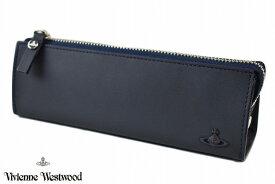 ヴィヴィアンウエストウッド ペンケース 筆箱 メンズ ブランド Vivienne Westwood トラベルプリント 紺 ネイビー 男性 紳士 本革 VWK496 【あす楽】
