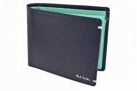 ポールスミス 二つ折り 財布 メンズ ブランド Paul Smith カラーコンビパルメラート 専用箱付 濃紺 ネイビー 男性 紳士 本革 PSC184 【あす楽】