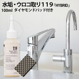 水アカ 鏡のうろこ取り119 HYBRID ( ハイブリッド ) 研磨剤入り 100ml ダイヤモンドパッド付き