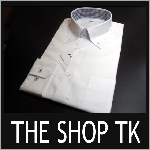 【THE SHOP TK 】タケオキクチ/長袖ドレスシャツ ボタンダウン【M】【L】【XL】【汚れが落ちやすい! 汚加工!!】オックス /ホワイト /ザ ショップ ティーケー sssaaaA4