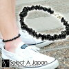 Black tourmaline anklet stone natural stone mens tourmaline Pebble of accessories Pebble simple adjustable length control allows one size fits most men's Dancewear black cool cool
