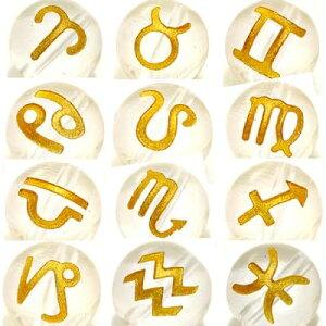 (横穴) 『12玉セット』 星座 彫刻 水晶 10mm 金色 パワーストーン バラ売り 天然石 パワーストーン ばら売り ビーズ 穴あき 玉売り ゴールド アクセサリー パーツ ハンドメイド アクセサリーパ