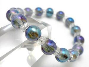 【潜在能力を引き出す】ブルーオーラ水晶8mm&ボタンカット水晶パワーストーンブレスレット天然石メンズレディースブレスアクセサリー【楽ギフ_包装】