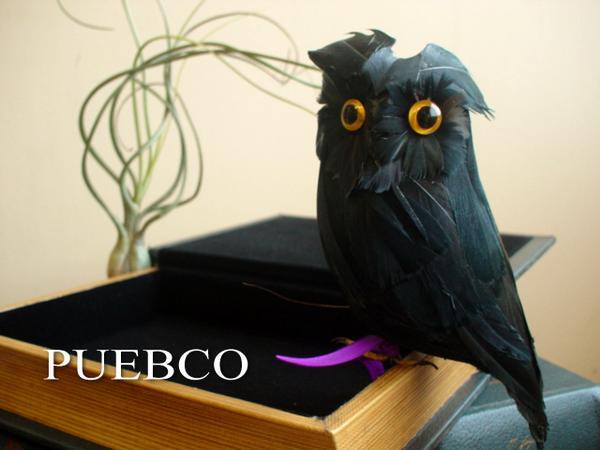 ★PUEBCO Owl ブラック プエブコ リアルなフクロウの置物雑貨通販【RCP】