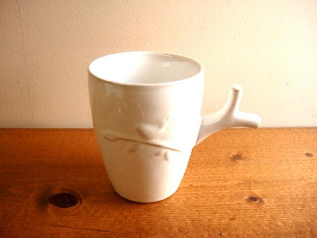 ★ナチュラルアンティーク風バードマグカップ(持ち手小枝) コップカップホワイト雑貨通販【RCP】