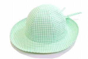 かわいい定番ギンガムチェック柄 セーラー 111950 グリーン 緑 ギンガムチェック キッズ 子供用 ジュニア 帽子 ハット 旅行 ファッション おしゃれ 紫外線対策 UVケア 日除け あご紐付き アウ