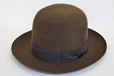 クラシカルなハット♪ 丸天 中折 ベロア 帽子 ブラウン 茶 メンズ レディース ユニセックス ハット ウール100% ファー ファッション アンティーク調 旅行 衣装 仮装 コスプレ イベント ネット通販