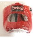 新TWINS ツインズ 本革製 キックボクシング フルフェイス型 ヘッドギア ヘッドガード 赤 Mサイズ