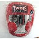 新 TWINS ツインズ 本革製 キックボクシング ヘッドギア ヘッドガード 赤 Mサイズ