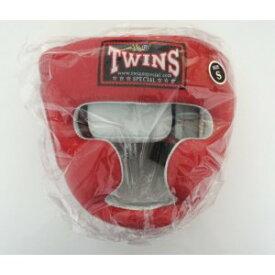 新 TWINS ツインズ 本革製 キックボクシング ヘッドギア ヘッドガード 赤 Sサイズ