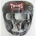 新 TWINS ツインズ 本革製 キックボクシング ヘッドギア ヘッドガード 黒 Mサイズ