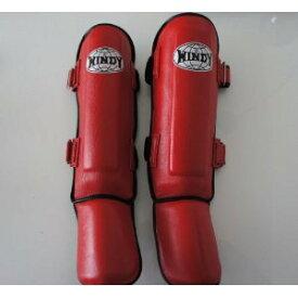 WINDY ウインディ 本皮製 キックボクシング レッグサポーター レッグガード 赤 Mサイズ