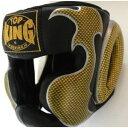 トップキング TOP KING キックボクシング ヘッドギア タトゥ 黒金 Lサイズ