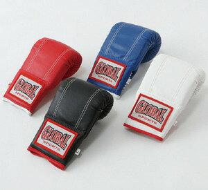【送料無料】パンチンググローブ (高級レザー) 黒 Mサイズ キックボクシング空手用 GLOBAL SPORTS グローバルスポーツ